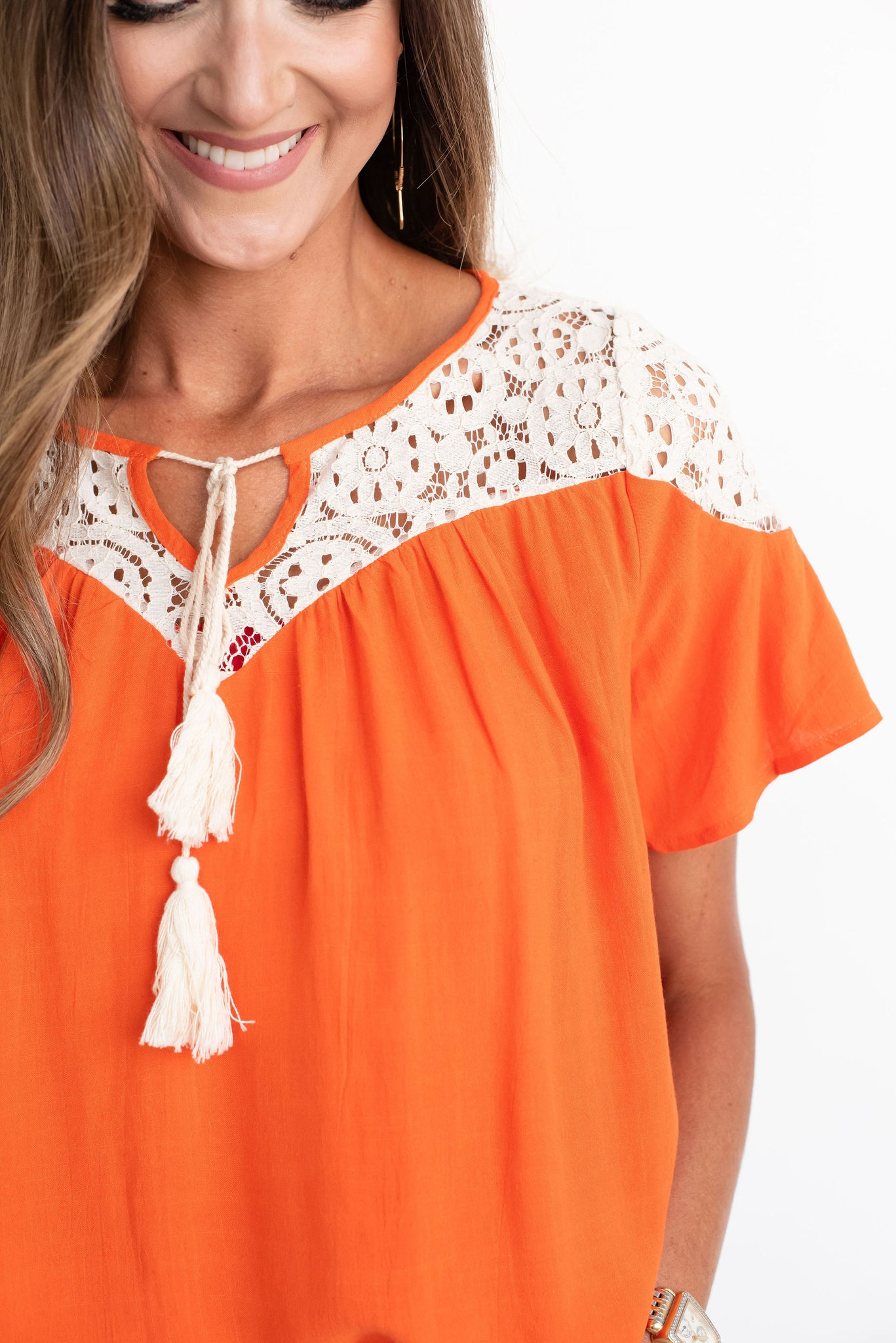 Orange Tie Top with Lace