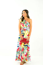 Tropical One Shoulder Maxi Dress