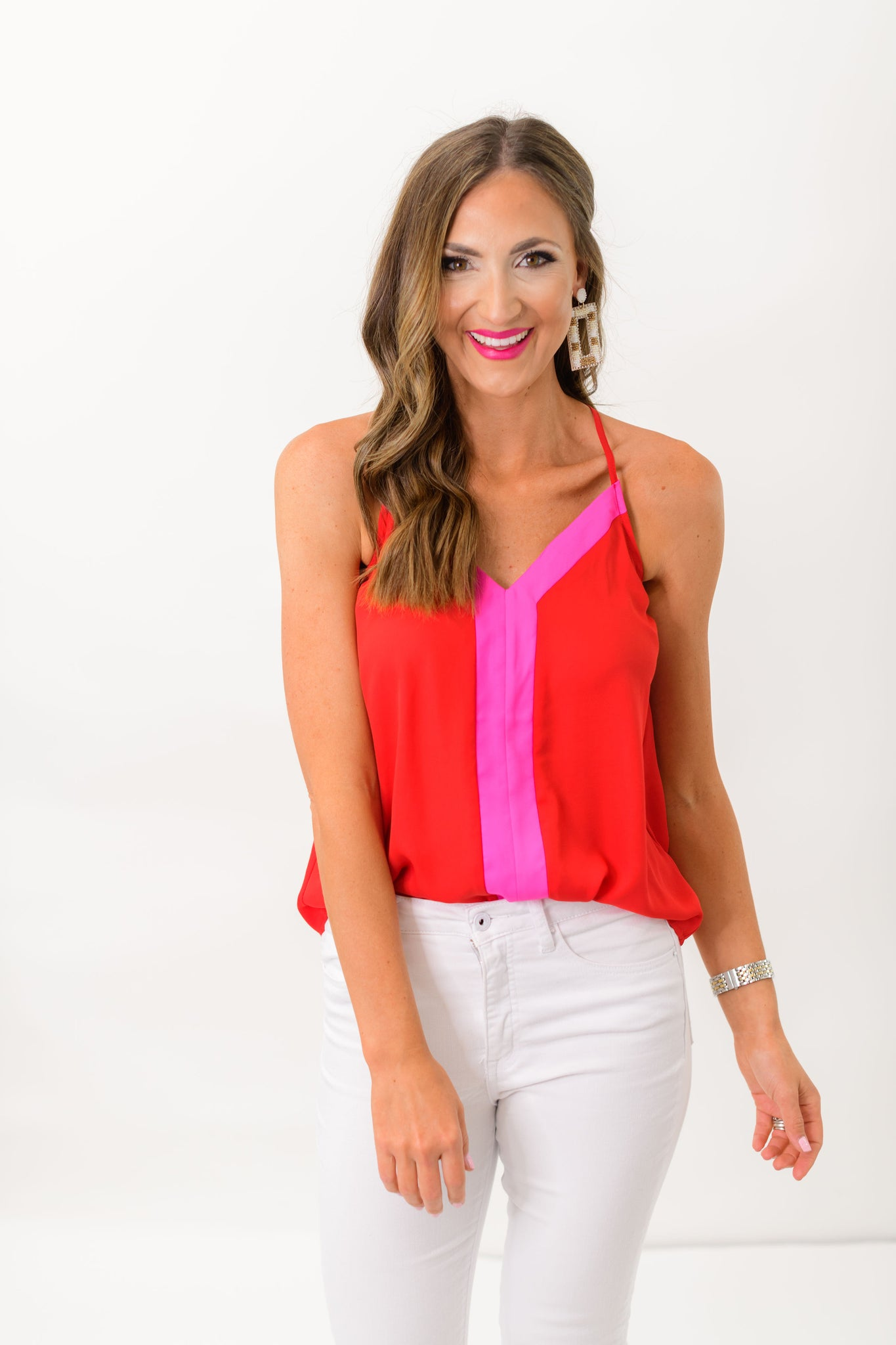 Red and Pink Color Block Cami *FINAL SALE*