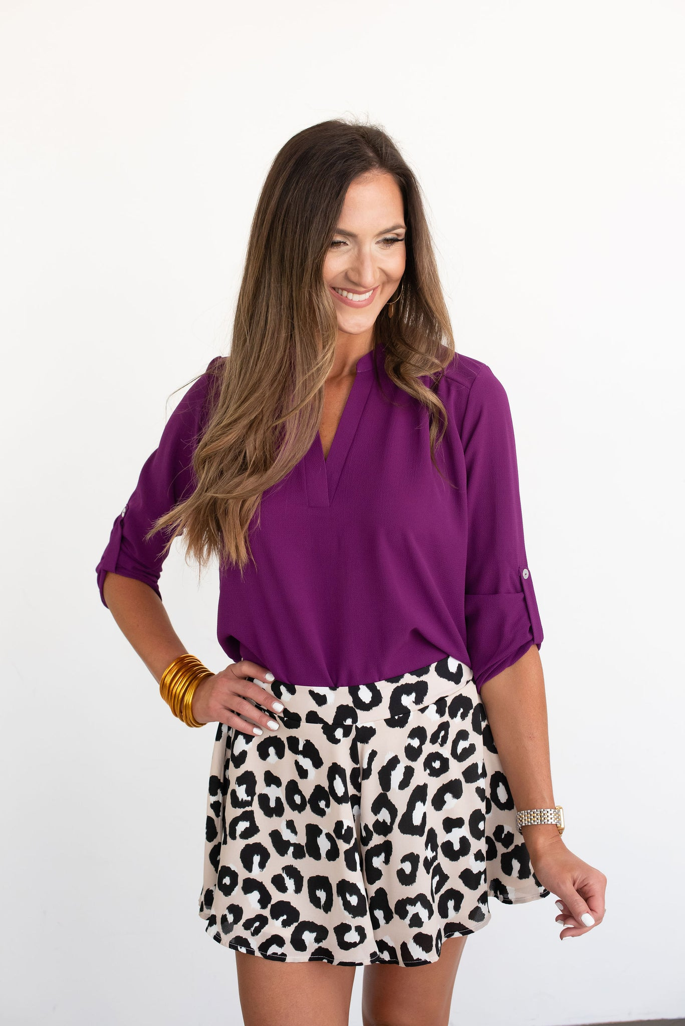 Purple 3/4 Sleeve V-Neck Top