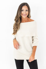 Cream Fold Over Oversized Sweater Top