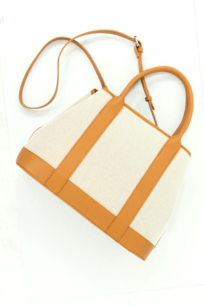 Tan Canvas Satchel w/ Leather Trim