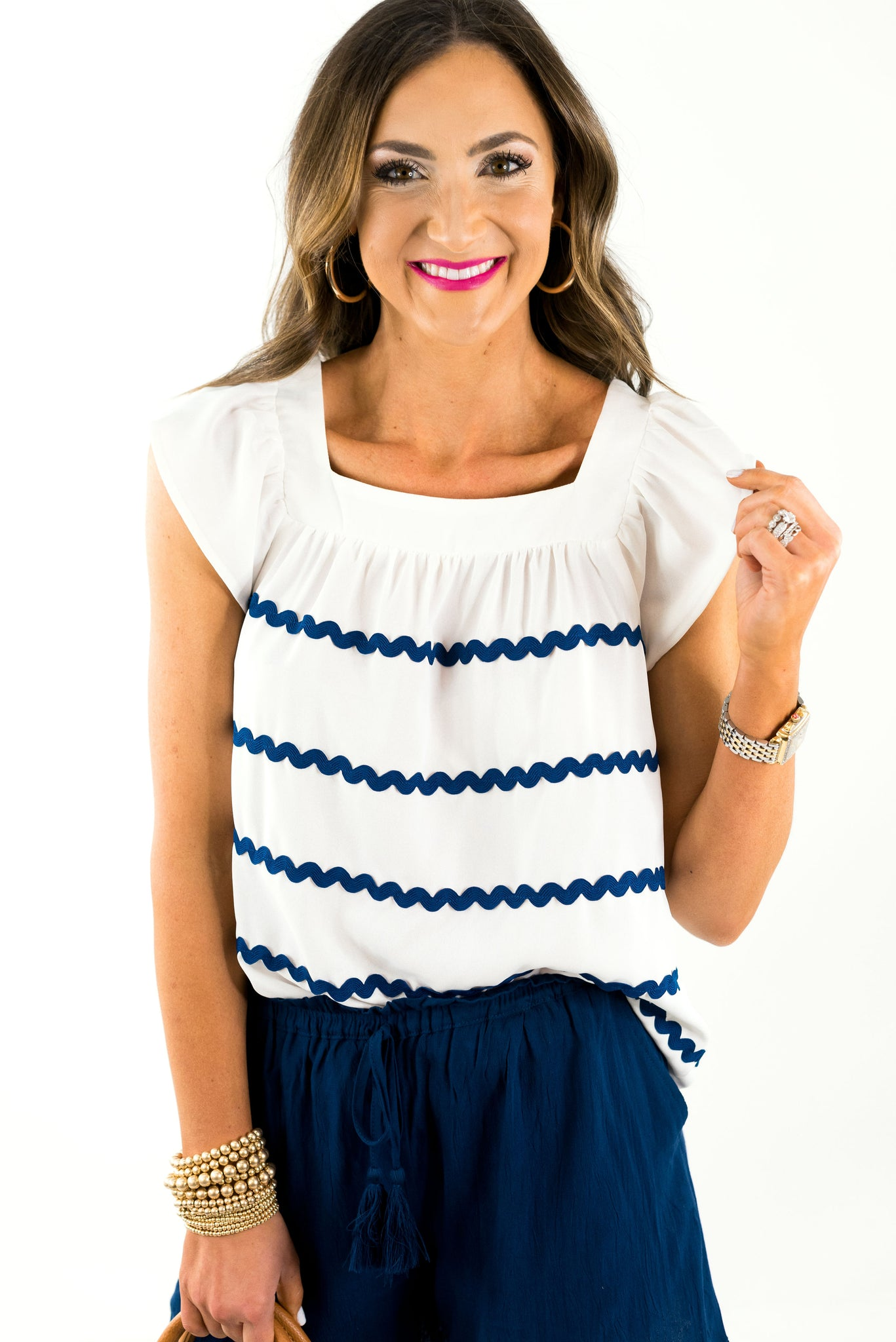 White Short Sleeve Ric Rac Top