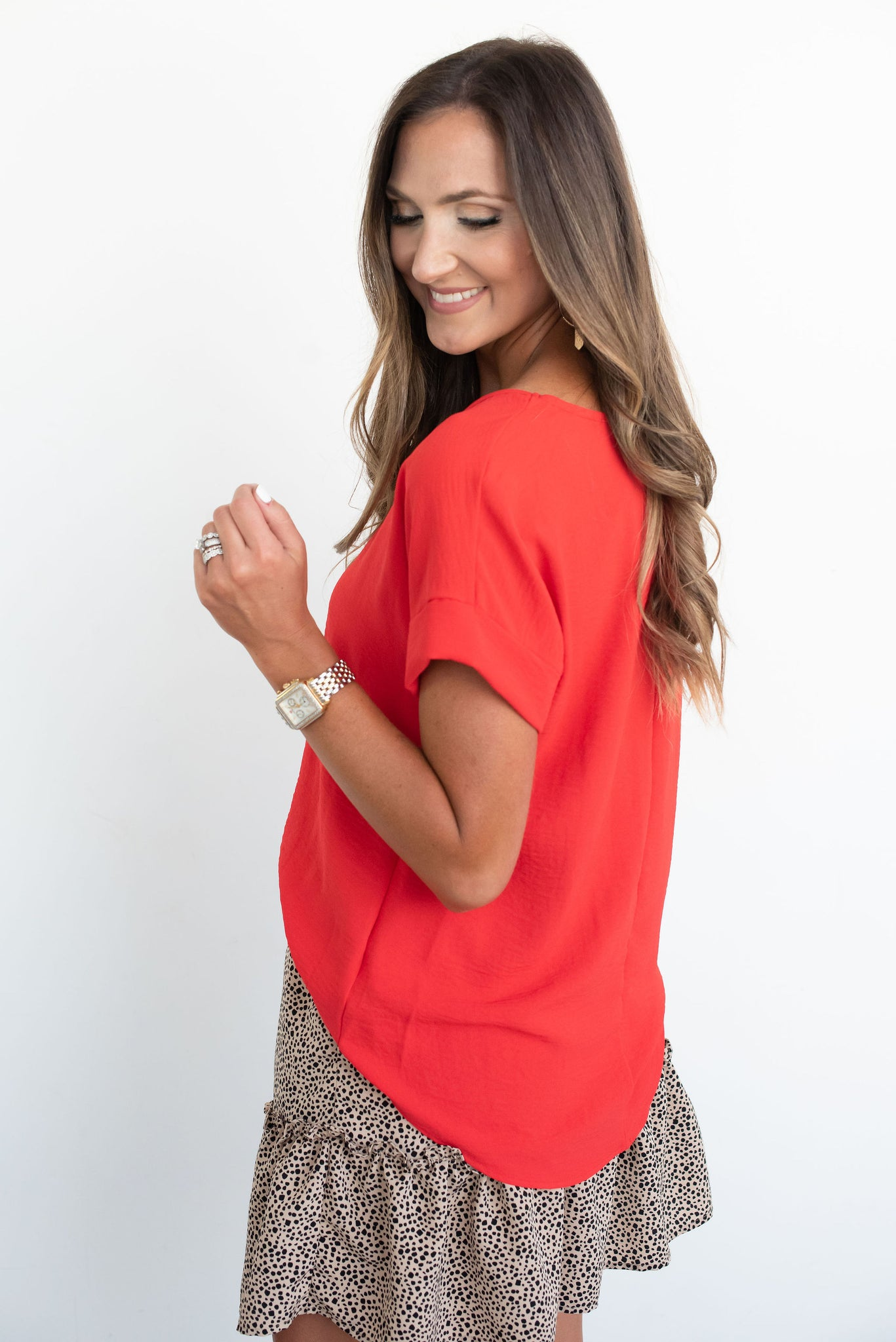 Red Rolled Dolman Sleeve Top
