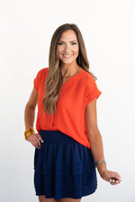 Orange V-Neck Hi Low Top
