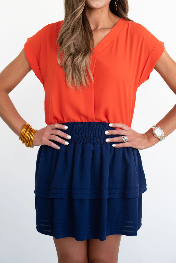 Navy Solid Ruffle Skirt
