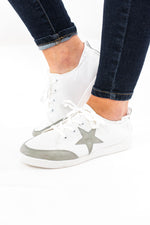 Grey Lace Up Star Sneakers w/ Elastic Back