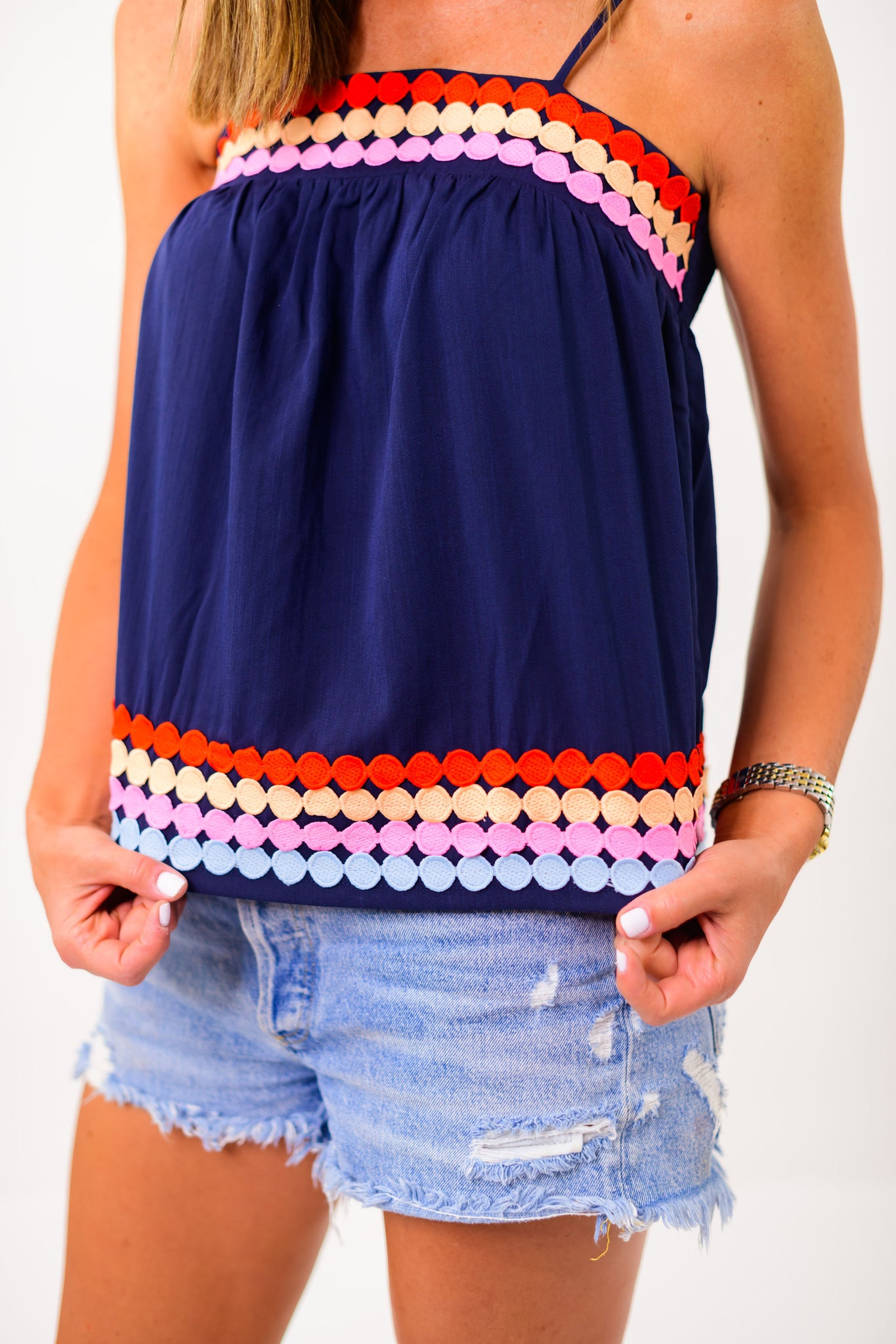 Navy Triple Dot Embroidered Strappy Top *FINAL SALE*