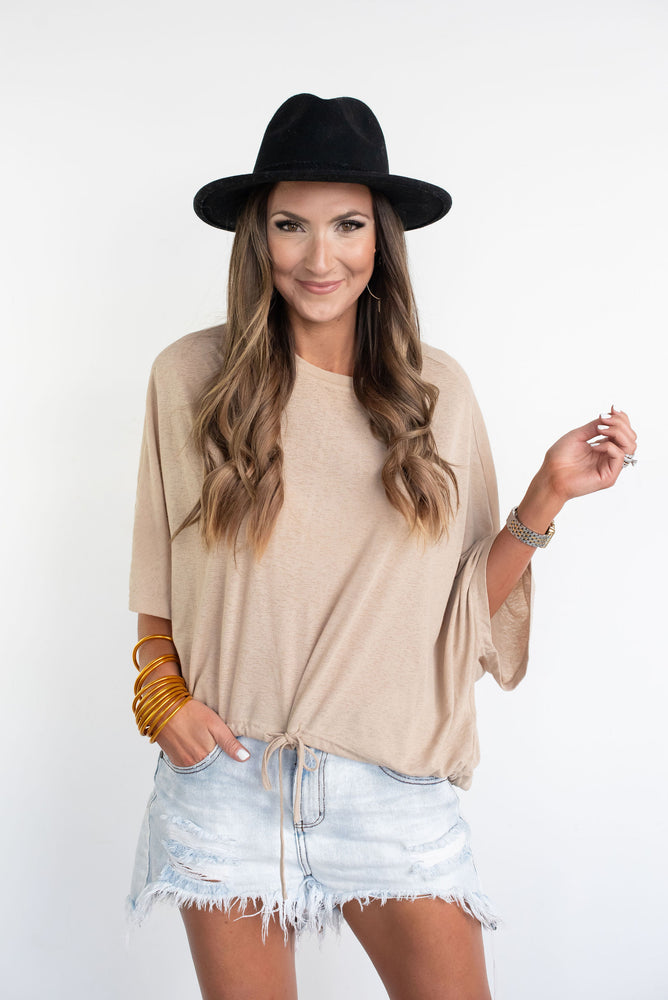 Heathered Knit Dolman Sleeve Top