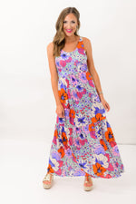 Colorful Floral Maxi Dress w/ Crochet Straps