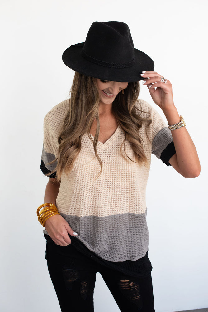 colorblock top, waffle top, fall top, fall transitional, transitional top, sweater top, short sleeve knit top, neutral top, style your senses
