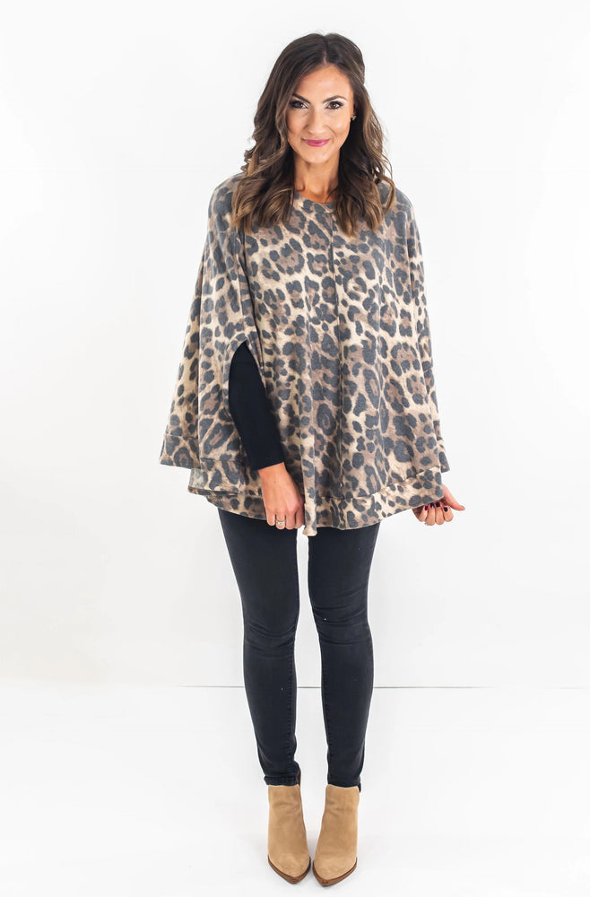 Animal Print Cozy Poncho