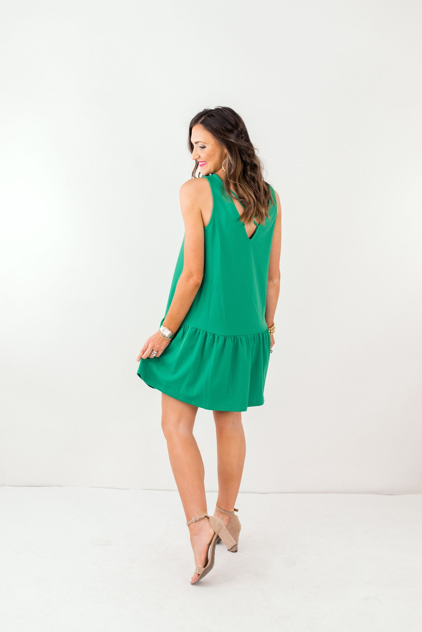 Kelly Green Cross Back Sleeveless Dress