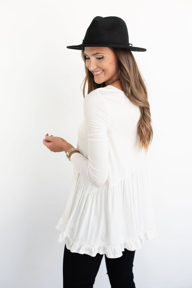white top, white fall top, long sleeve white top, white babydoll top, white peplum top, white ruffle top, white knit top, style your senses, transitional top, fall top, neutral top, versatile top