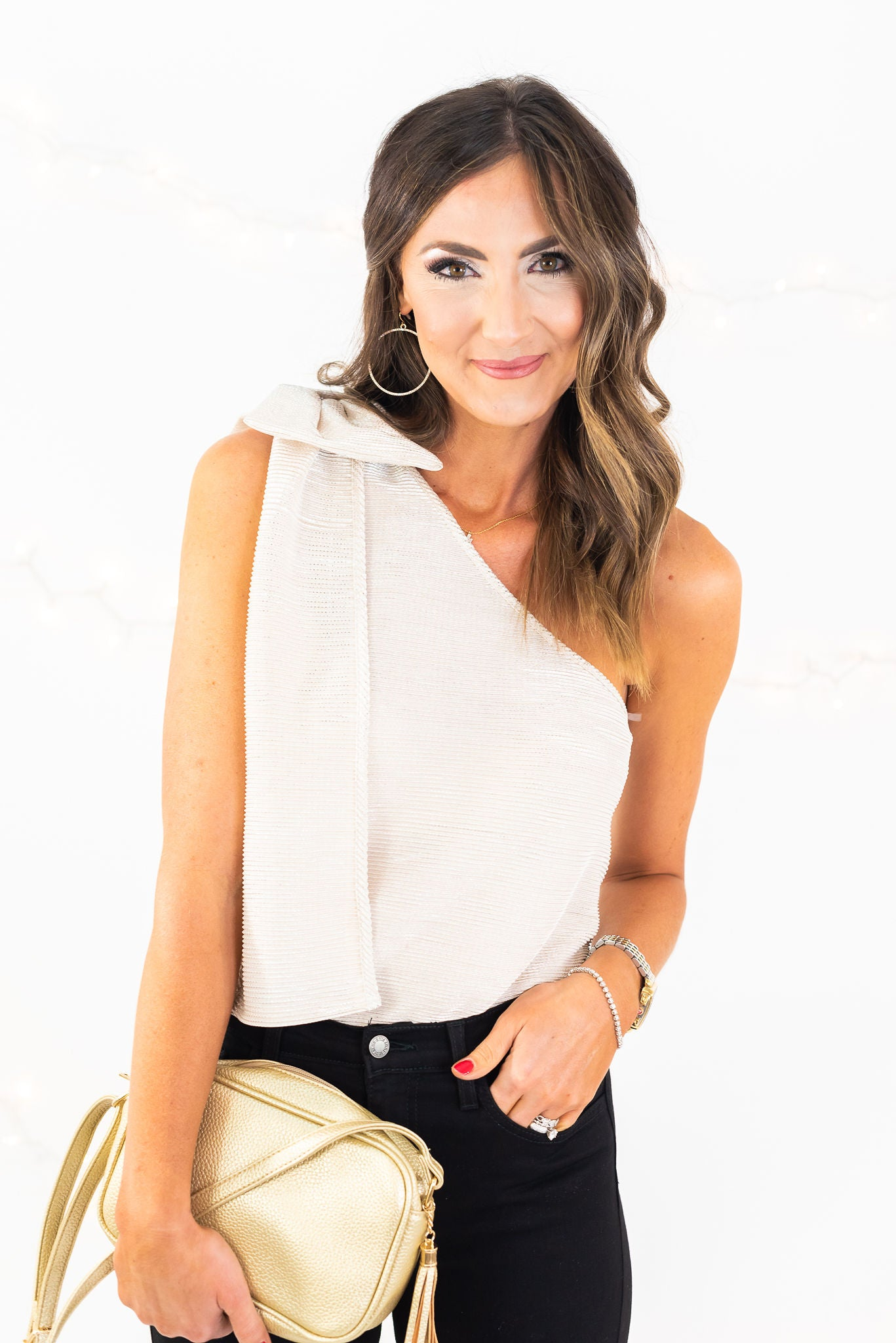 Silver One Shoulder Metallic Top