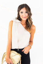 Gold One Shoulder Metallic Top