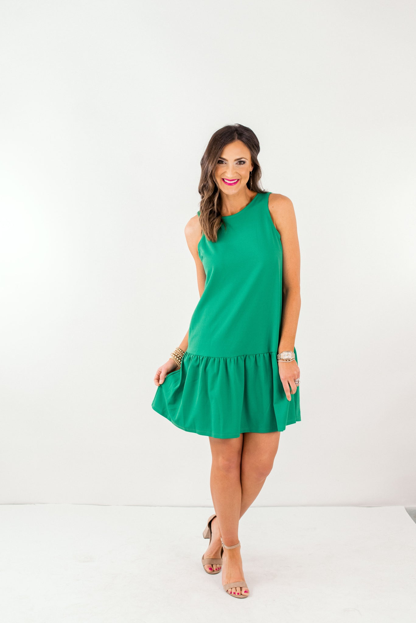 Kelly Green Cross Back Sleeveless Dress *FINAL SALE*