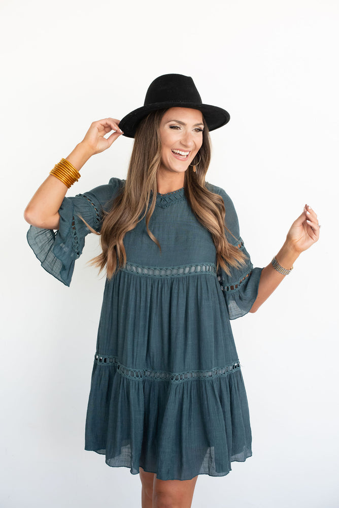 Emerald Bell Sleeve Ruffle Babydoll Dress