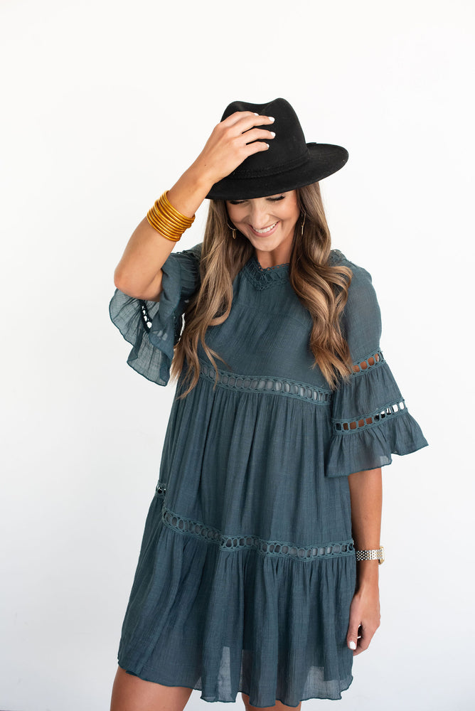 Emerald Bell Sleeve Ruffle Babydoll Dress, tiered dress, teal dress, jade dress, turquoise dress, green dress, emerald dress, boho dress, fall dress, bell sleeve dress, transitional dress, style your senses