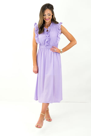 Lavender Ruffle Midi Dress *FINAL SALE*