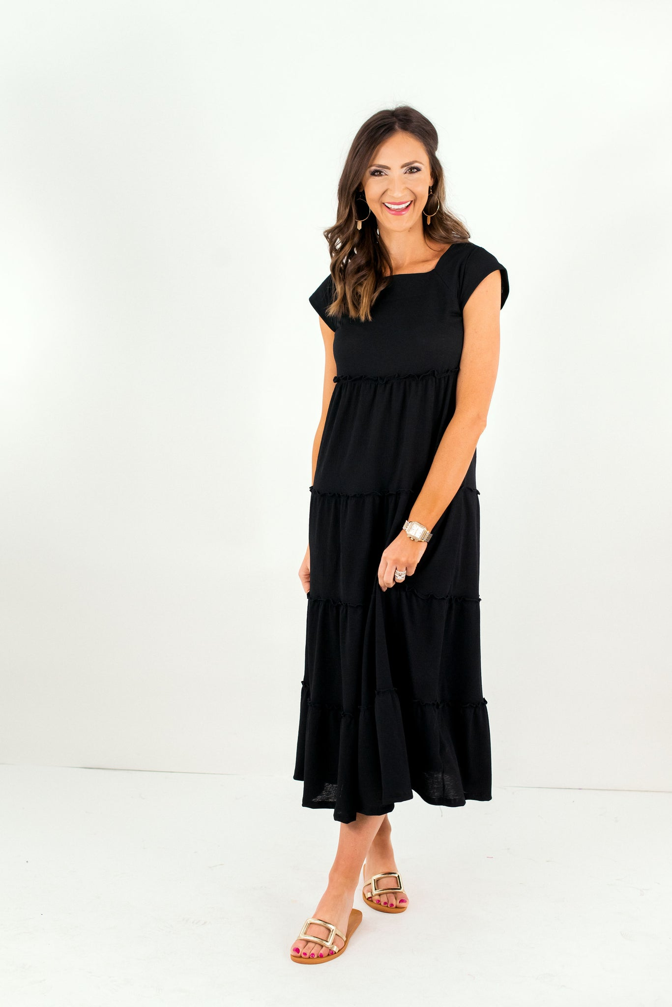 Black Tiered Square Neck Midi Dress