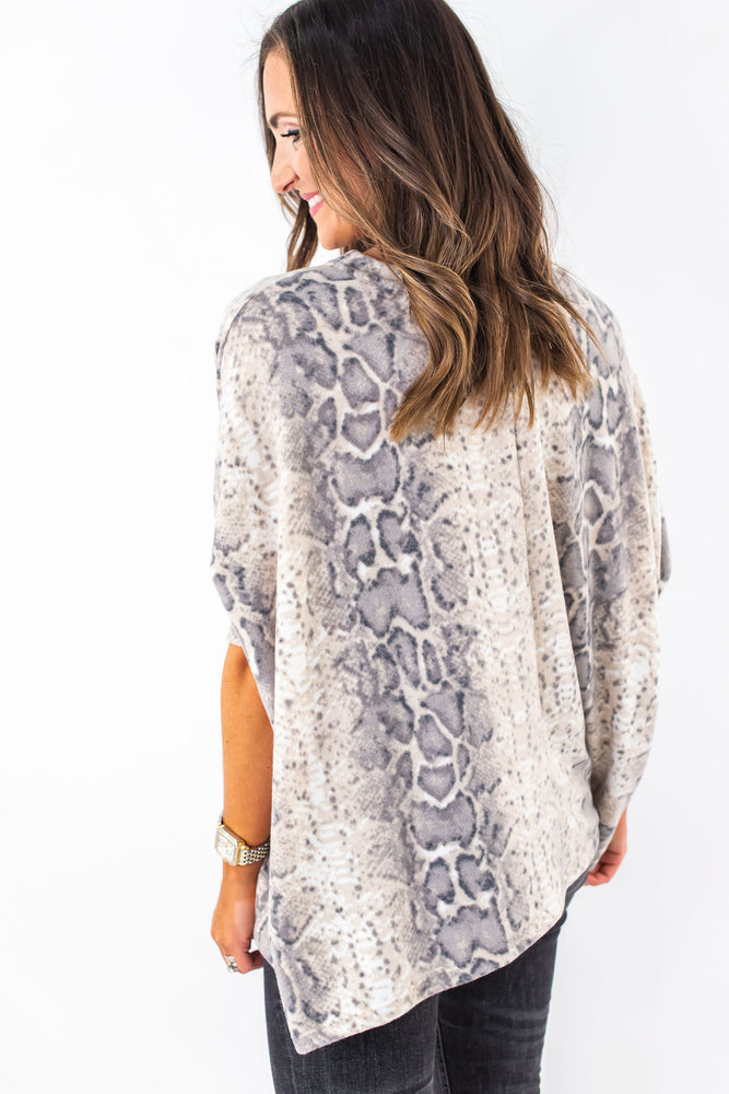 Brushed Grey Print Boxy Tunic