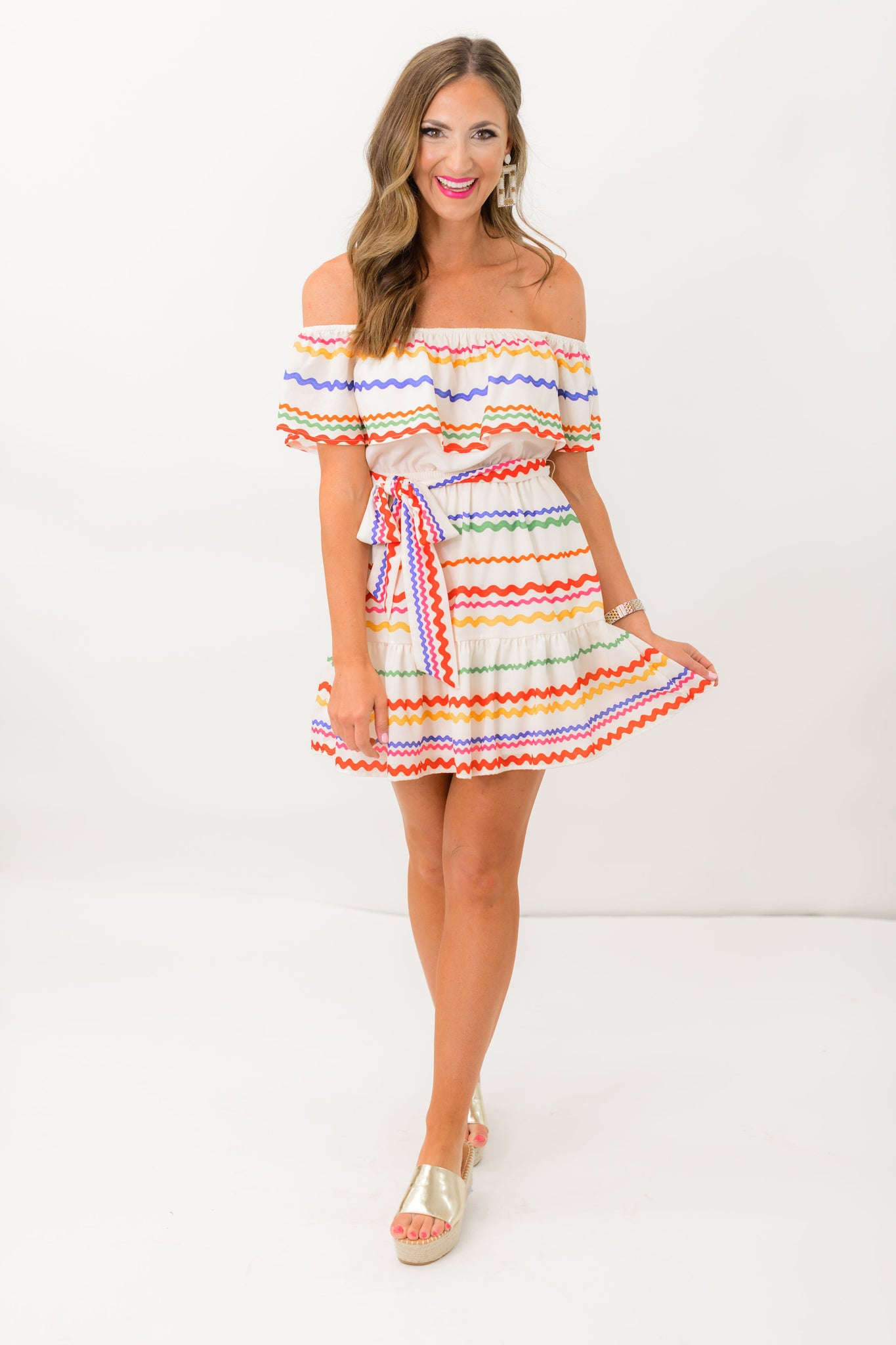 Off the Shoulder Colorful Ric Rac Dress