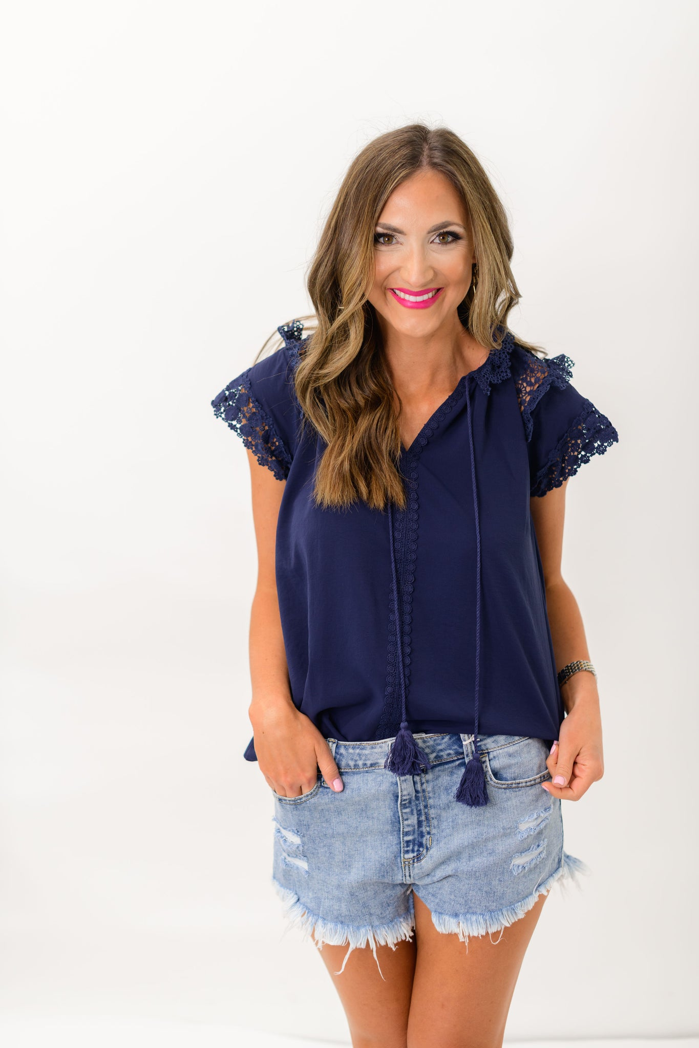 Navy Lace Collar and Tiered Sleeves Top