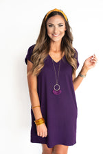 Purple V-Neck Knit Dress
