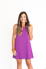 Purple Sleeveless Woven Dress with Strappy Detail