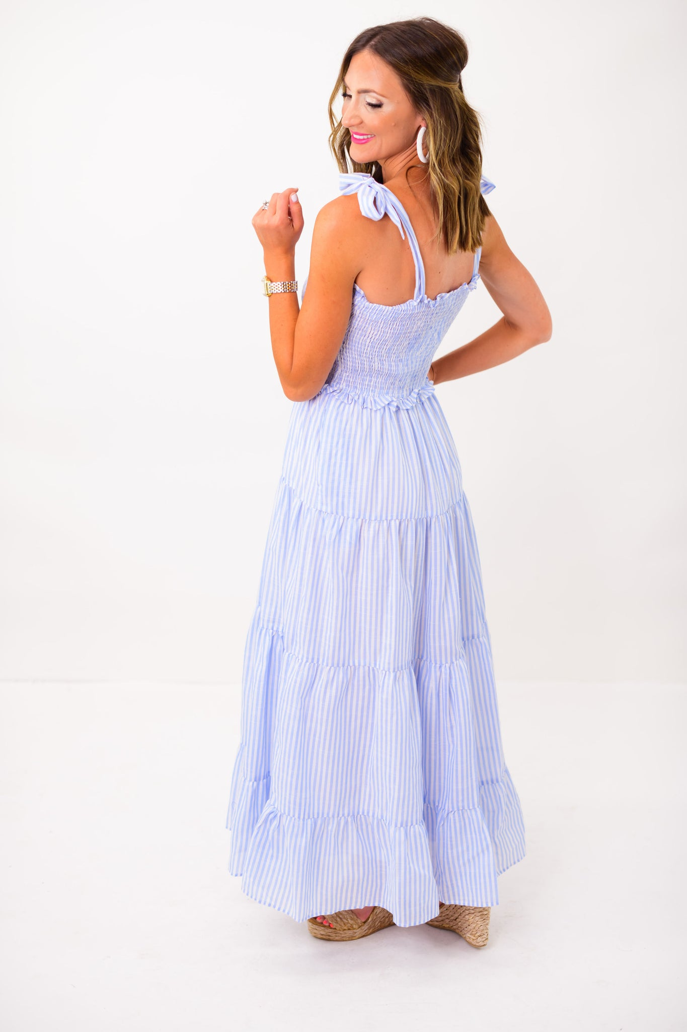 Blue and White Stripe Tiered Maxi Dress *FINAL SALE*