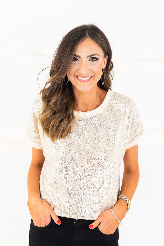 Ivory Short Sleeve Sequin Tee