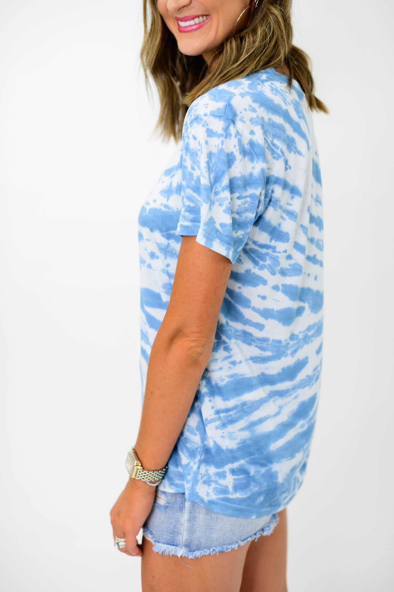 Blue Off Center Tie Dye Tee