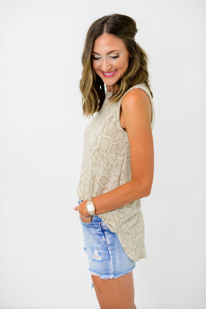 taupe snakeskin tank top, snake print tank, neutral snake tank, muscle tank, muscle cut tank, tunic tank, transitional tank, shop style your senses, style your senses, mallory fitzsimmons