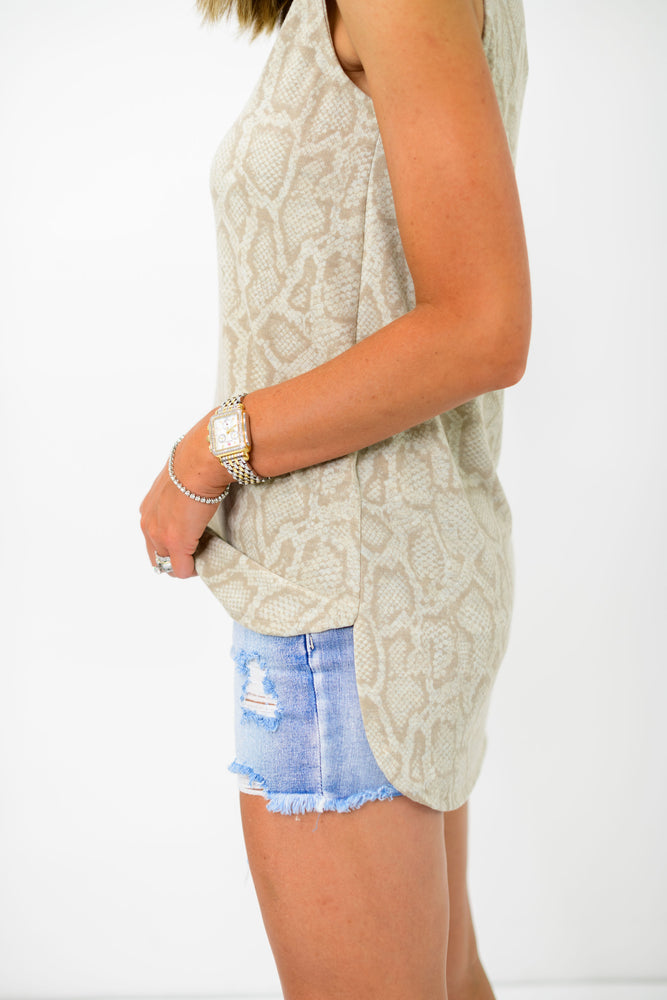Load image into Gallery viewer, taupe snakeskin tank top, snake print tank, neutral snake tank, muscle tank, muscle cut tank, tunic tank, transitional tank, shop style your senses, style your senses, mallory fitzsimmons