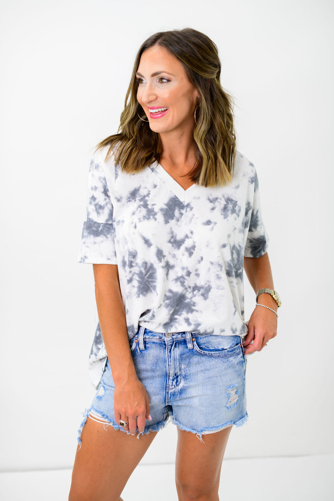 Charcoal Tie Dye V Neck Drop Shoulder Top