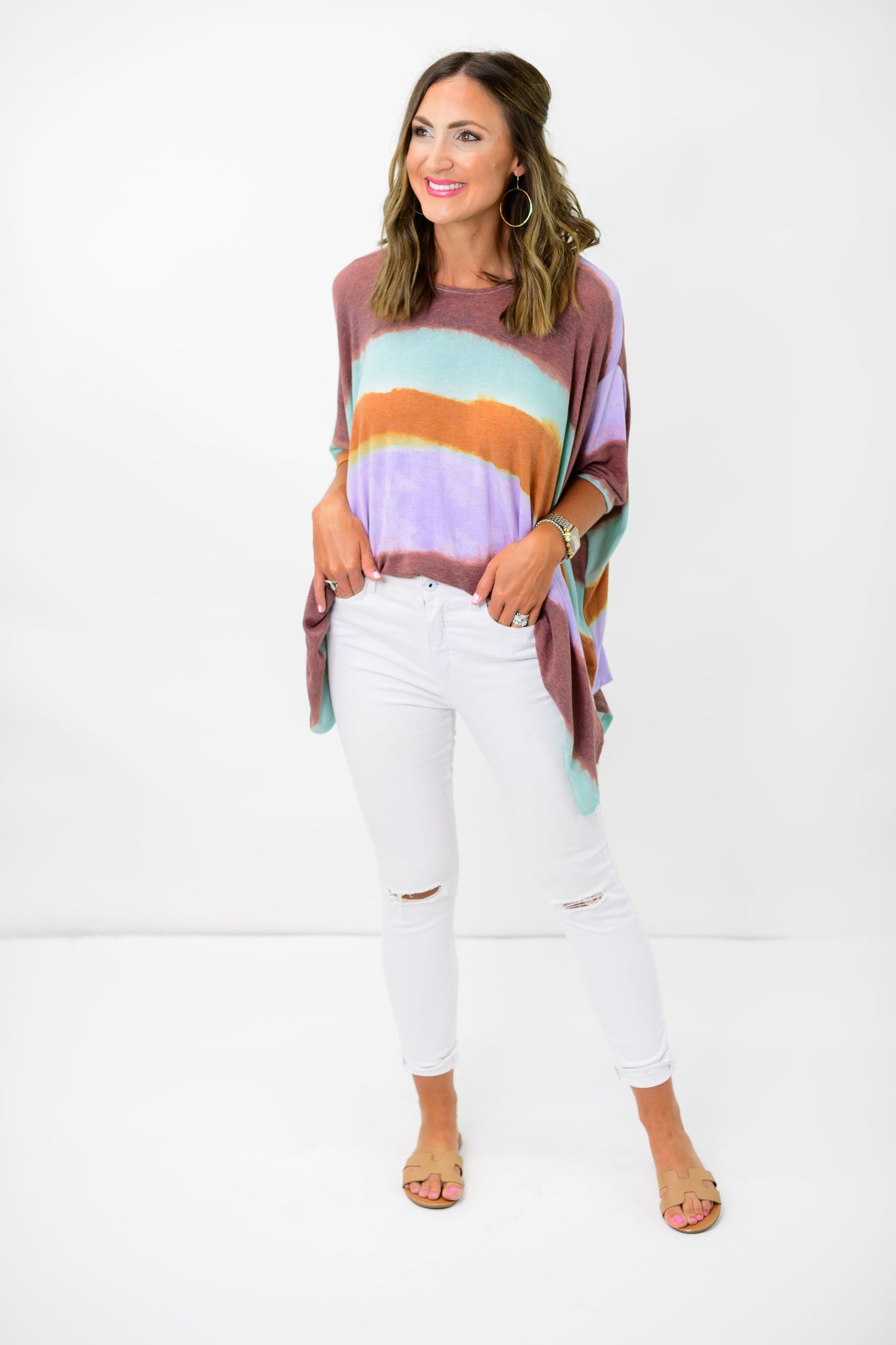 Muted Colorful Stripe Poncho