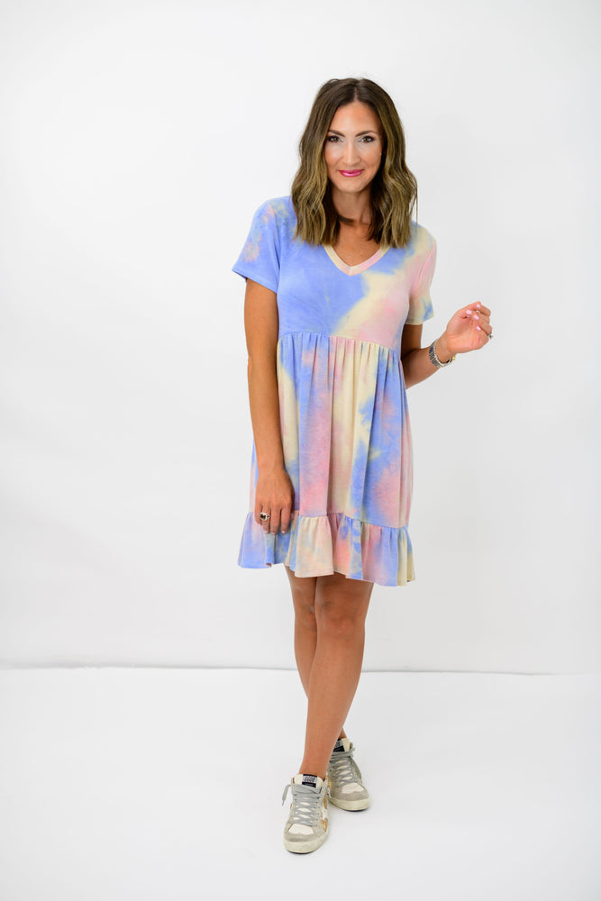 Tie Dye V Neck Babydoll Dress