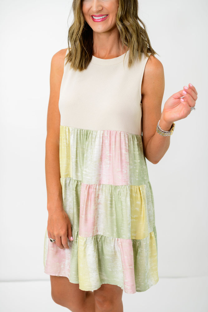 tiered dress, pastel dress, casual dress, tie dye dress, ruffle tiered dress, tank dress, work to weekend dress, shop style your senses, style your senses, mallory fitzsimmons