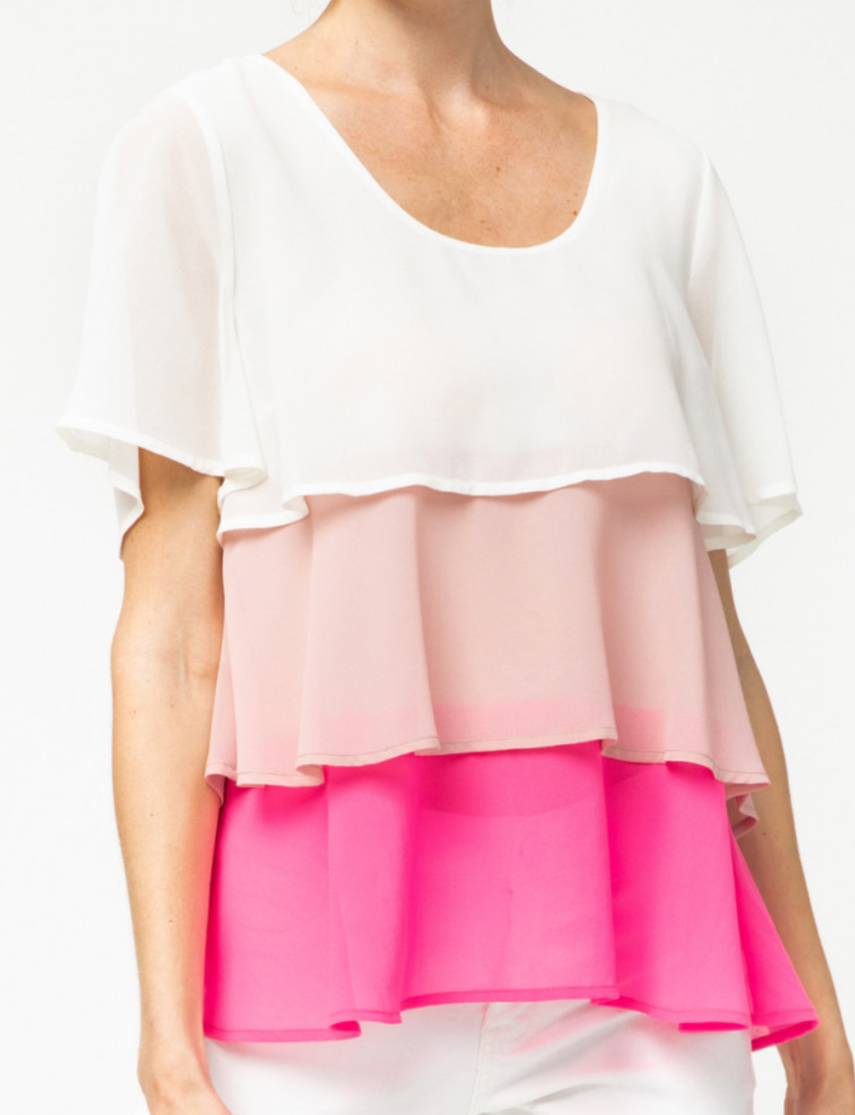 Pink and White Ombre Tiered Top *FINAL SALE*