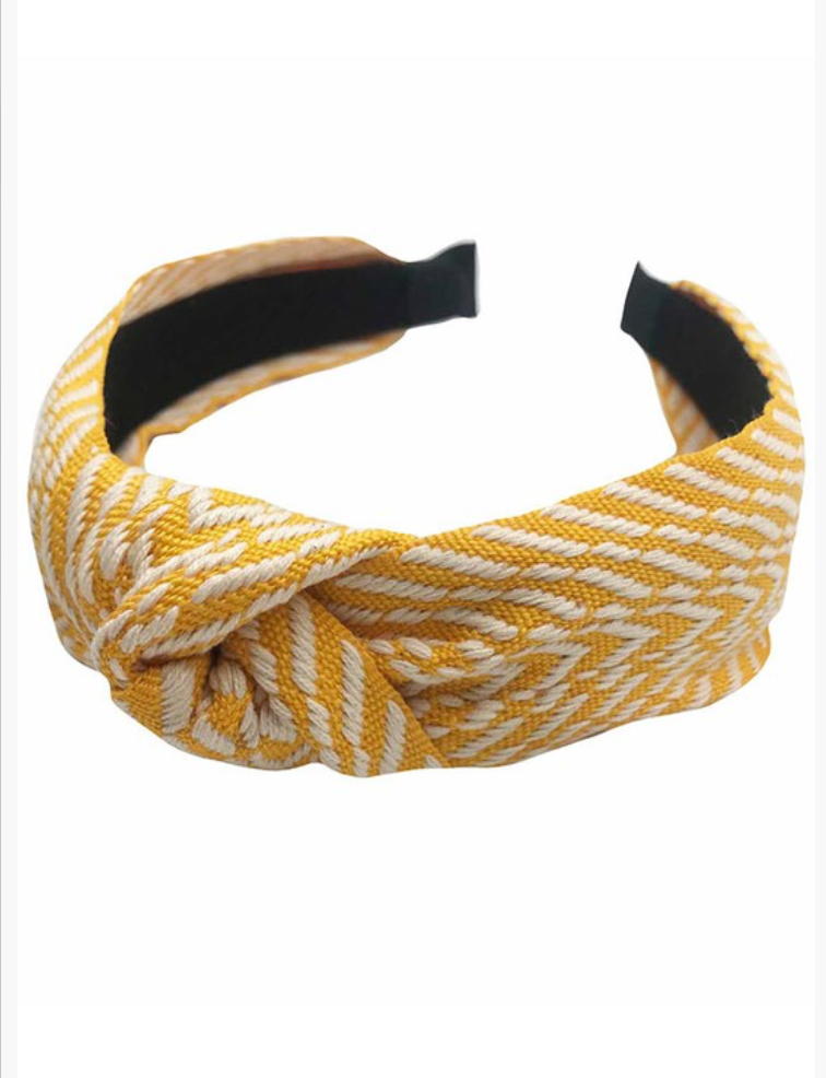 Yellow Chevron Pattern Headband