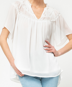 Load image into Gallery viewer, White Flowy Top w/ Smock Detail *FINAL SALE*