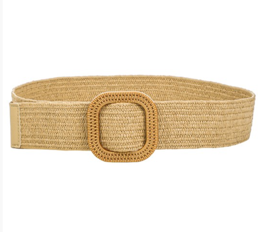 Tan Raffia Belt w/ Square Buckle