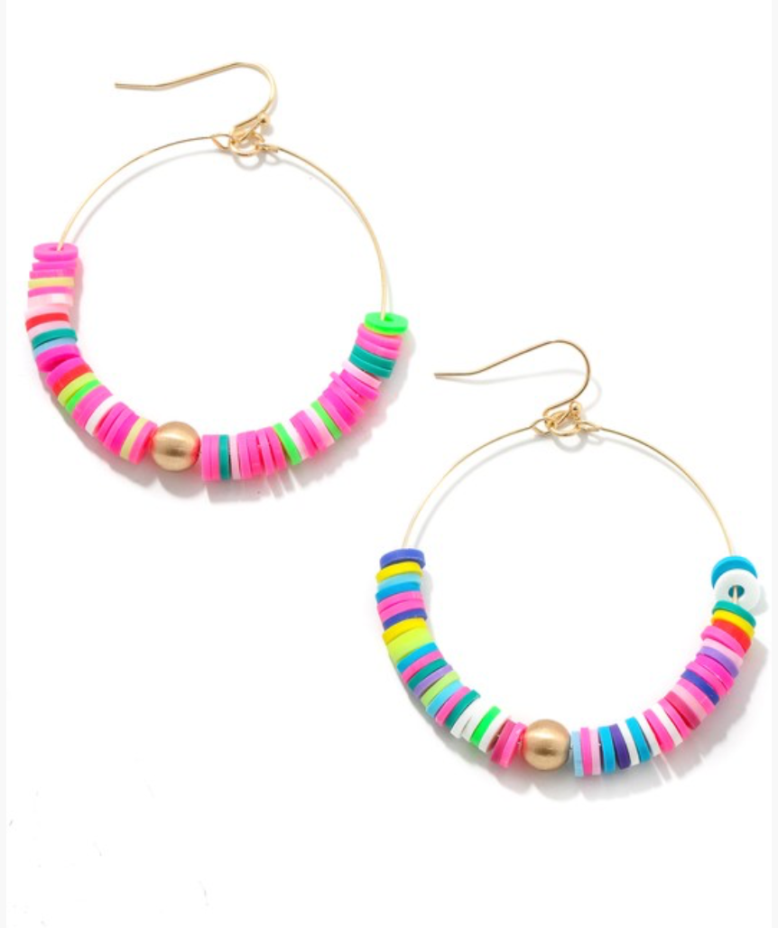 Colorful Beaded Disc Hoop Earrings