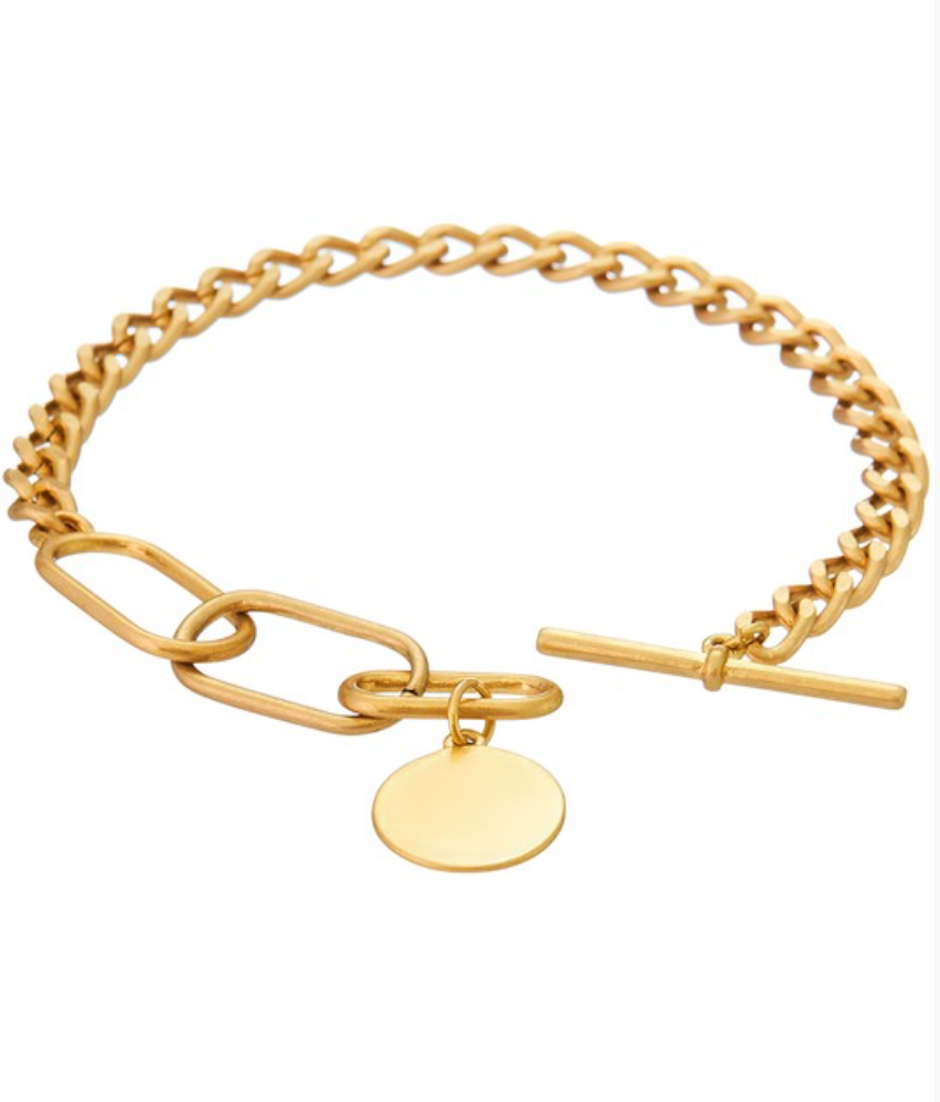 Gold Chain Link Bracelet w/ Toggle Closure and Disc