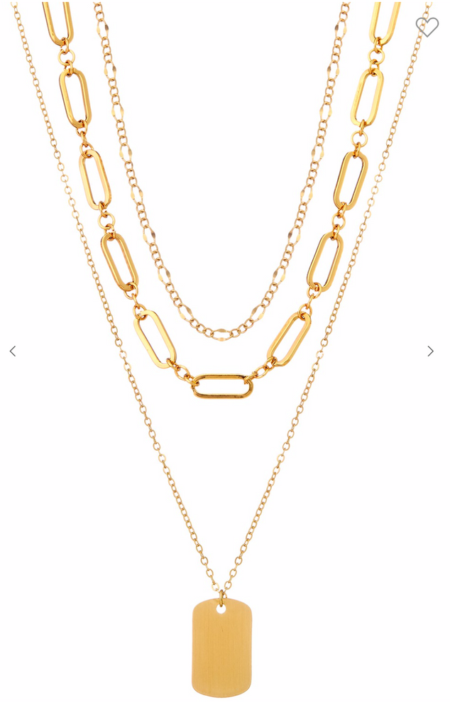 Gold Layered Necklace w/ Paperclip Chain and Dog Tag Charm