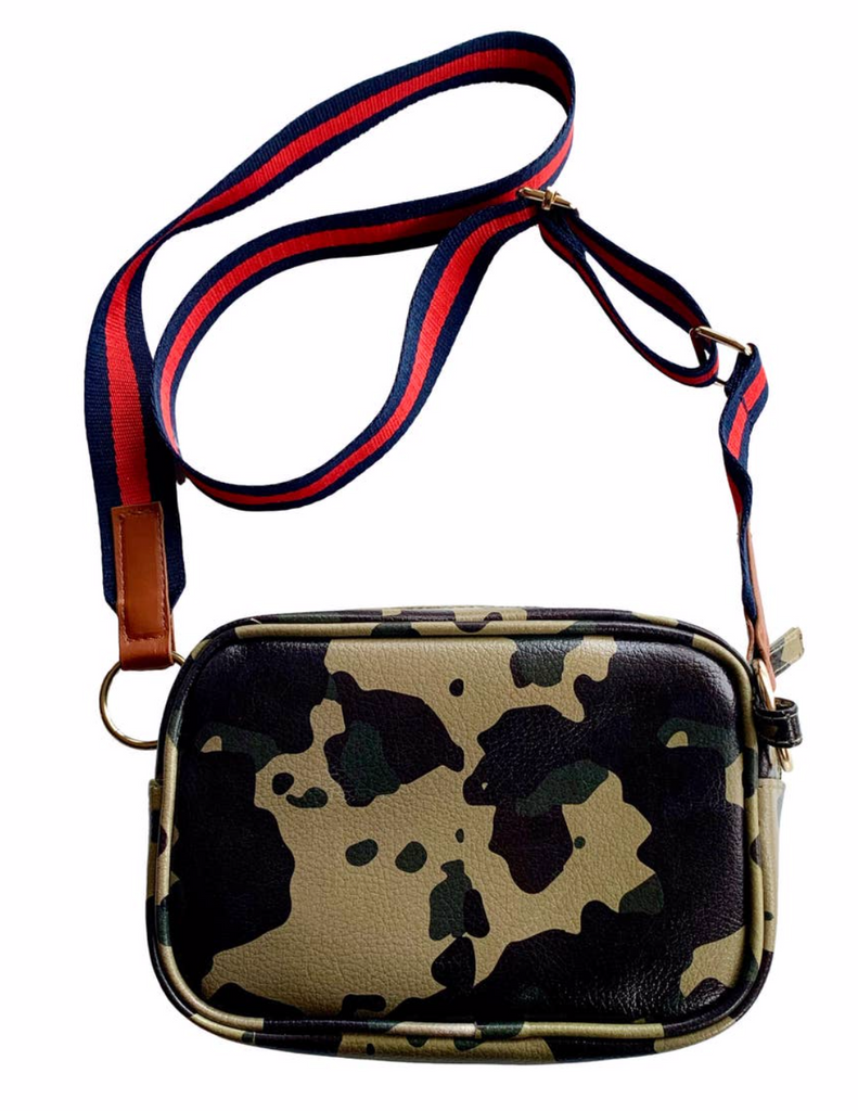Camo Faux Leather Crossbody Purse w/ Stripe Strap