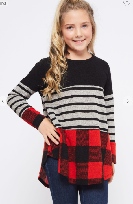 Kids Red and Black Buffalo Plaid Color Block Top