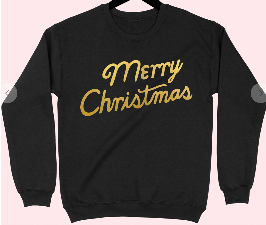 Black and Gold Merry Christmas Sweatshirt