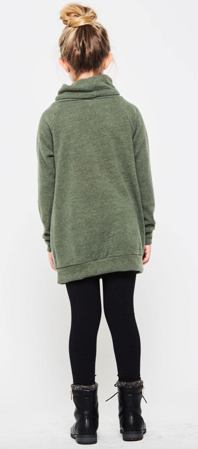 Kids Olive Green Cowl Neck Tunic
